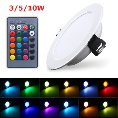 RGB LED Panel Lamp 3W 5W 10W Dimmable Recessed Ceiling Down Light Bulb w/ Remote