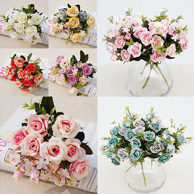 Rose Silk Artificial Simulation Flower Bouquet Wedding Home Party Decoration UK