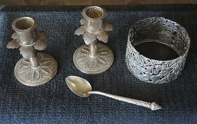 Pair Antique Silver Middle Eastern Candlesticks + Spoon + Dutch Bottle Sleeve #1