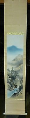 Vintage Antique Japanese or Asian Scroll Pagoda and River Signed