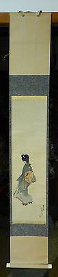 Vintage Antique Japanese Asian Wall Scroll Geisha Girl Signed
