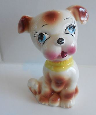 Vintage Hand-Painted  Cartoon Styled Porcelain Dog Figurine Japan