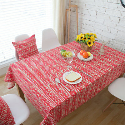 Cotton Linen Red Deer Stripe Tablecloth Christmas Tree Decor Cover-NEW