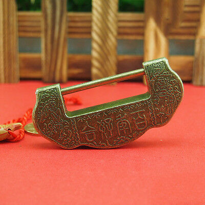 Chinese Vintage Antique old style excellent Brass Carved Word padlock lock/key