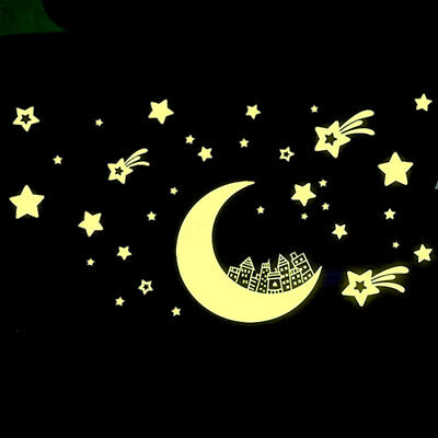 Glow In The Dark Moon Stars Wall Sticker Kids Baby Bedroom Home Ceiling Decor