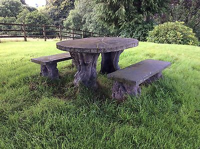 Old Rustic Reconstituted Stone Tree Table And Pair Of Benches