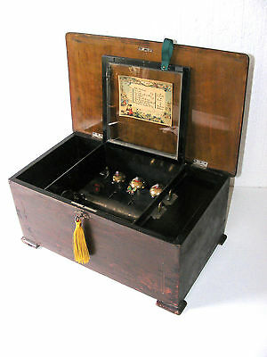 """""""ANTIQUE 8 AIR & 3 BELLS WITH A BUTTERFLY. CYLINDER MUSIC BOX. WORKING c1880"""""""