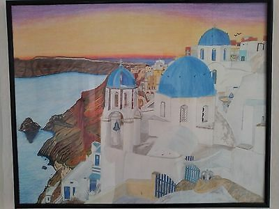 Santorini Coloured Pencil Drawing