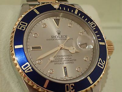 Rolex Submariner 16613 Yellow Gold & Stainless Steel with Serti Dial
