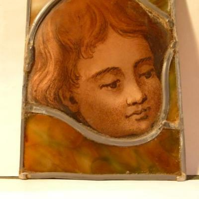 Antique Hand Painted Stained Glass PORTRAIT Head Young Boy Leaded Panel #1