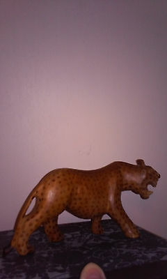 Hand carved figurine, wooden spotted cheetah