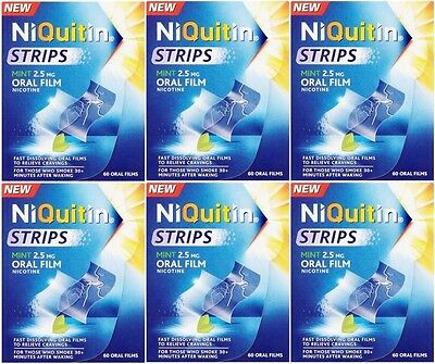 Niquitin Oral Film Strips Mint 2.5mg (6 x 60 Pack) Total 360 Strips! Nicotine