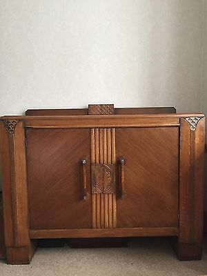 A superb OAK ART DECO SIDEBOARD - galleried top, internal shelf and drawers.