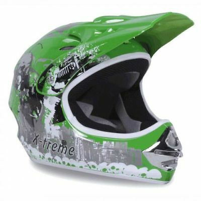 Kinder Crosshelm X-treme Cross Helm Kinderhelm Motorradhelm Quadhelm grün