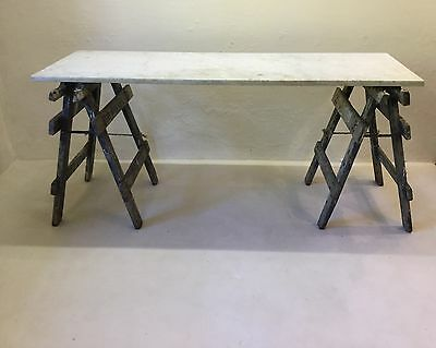Marble Topped Trestle Based Plaster Artists Table