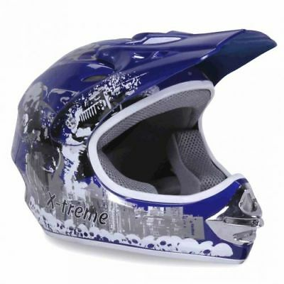 Kinder Crosshelm X-treme Cross Helm Kinderhelm Motorradhelm Quadhelm blau