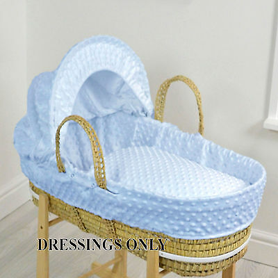 New 4Baby Blue Dimple Palm Baby Boys Moses Basket Dressings Extra Basket Covers