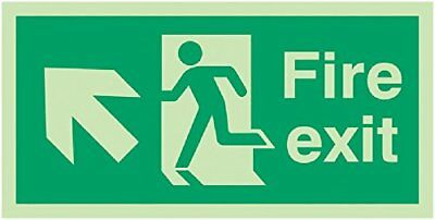 "Signs and Labels AMZFE045KPLV ""Fire Exit Running Man Arrow Up Left"" Safe Safety"