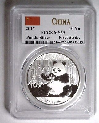 2017 Silver Panda 10 Y CHINA ~ White Label - First Strike  PCGS MS 69 MS69