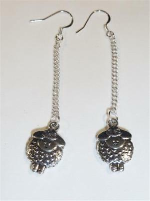 Silver Plated Dangle Earrings - Double Sided Sheep - Free Uk P&p..........cg1066