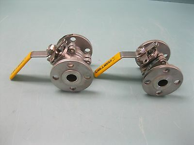 "Lot (2) 1"" 150# Warren SS Flanged Ball Valve 6156 Locking Handle L18 (2240)"