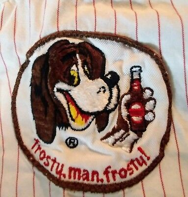 VTG BIRELEY'S Orange Drink Soda uniform work shirt 2 patches frosty man frosty!