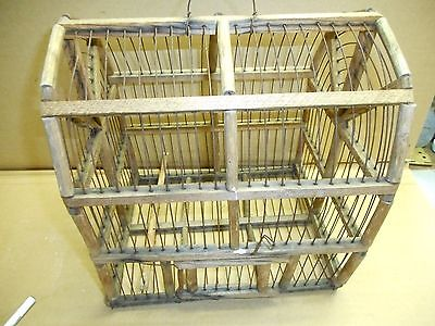 Antique Vintage Small Handmade?? Wooden  and Wired Birdcage
