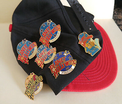 Lot of 6 -Planet Hollywood Pins & Orlando P/H Hat  Low Start