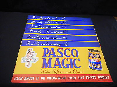 Lot of 5 Pasco Magic Cleaner Vintage Ant Adv Sign Semi Nude Lady Radio Station