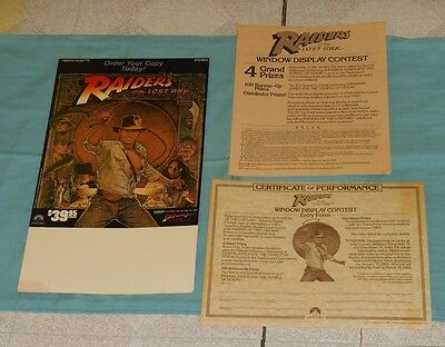 vintage RAIDERS OF THE LOST ARK video store counter display tent & paperwork