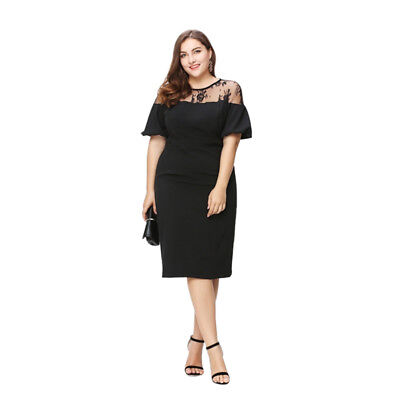 Women Summer Sheer Lace Midi Dress Evening Party Prom Club Cocktail Plus Size 20
