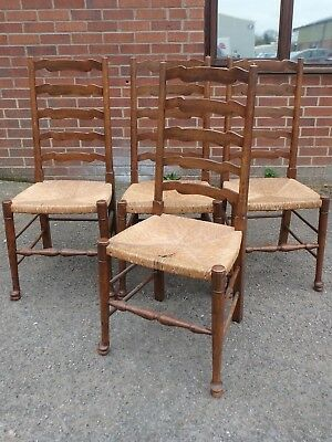 Set 4 antique Arts Crafts solid oak ladder back rush seat kitchen dining chairs