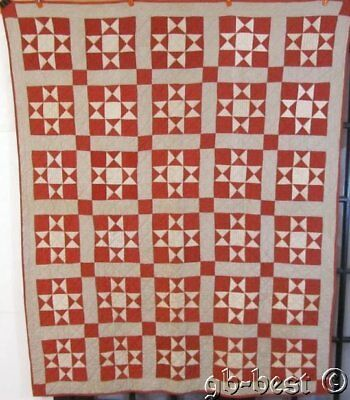 "American Farmhouse c 1900 RED Stars Antique Quilt nice to hang 75"" x 60"""