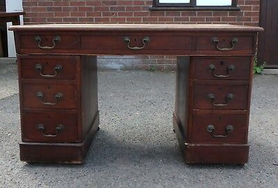 Victorian antique mahogany 9 drawer twin pedestal office writing computer desk