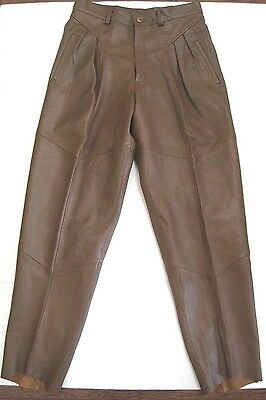Mens Vintage Saxony Brown Leather Pants Bottoms Lined Unfinished Raw Hems 34