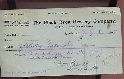 1898 Flach brothers Grocery Store Company Cincinnati Ohio Sales Invoice Eaton OH