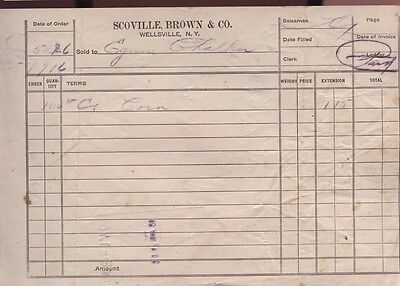 1916 Scoville Brown Company Wellsville New York Invoice Receipt Bill Advertising