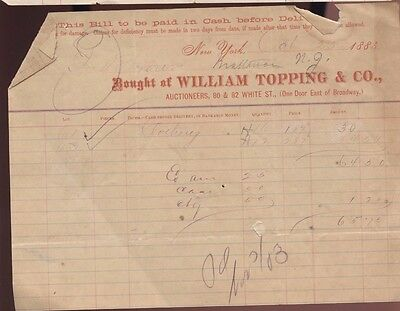 1883 New York City William Topping Company Auction House Auctioneer Sale Bill