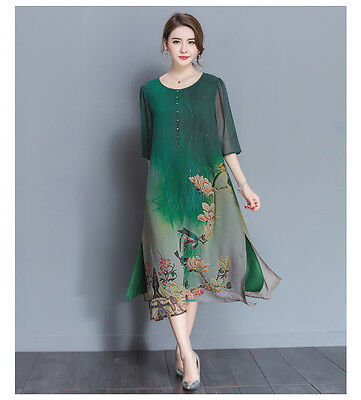 Women Ladies Green Chiffon Floral Mid Sleeve Maxi Party Long Dress Size 12