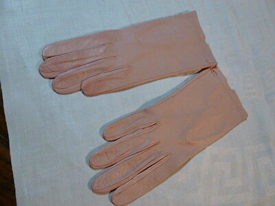 Vintage Kid Leather Gloves Coral New Size 6