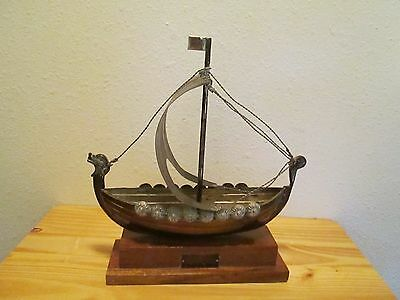 Vintage Silver Plated Viking Ship Model On Wood Base
