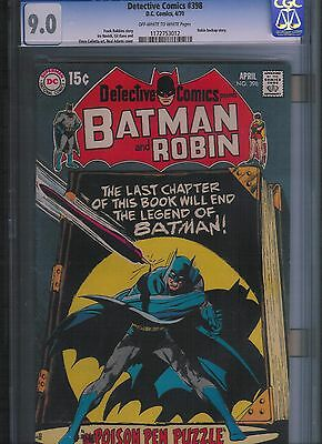Detective Comics # 398 CGC 9.0  Off White to White Pages. UnRestored.