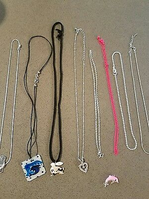 girls necklace lot dolphins, disney/Mickey  mouse, heart etc