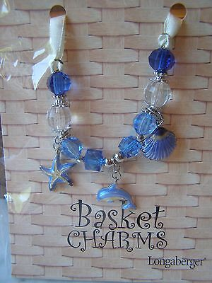 Longaberger Basket Charm Tie on Dolphin, Starfish & Sea Shell New in Package