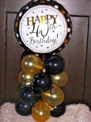 FOIL BALLOON AGE 40 40th BIRTHDAY TABLE DECORATION DISPLAY AIRFILL BG