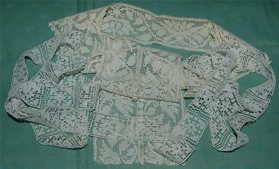 """Antique Fillet Lace Collar & Length of Insertion 92"""" x 1.25"""" Edwardian c1910-20s"""