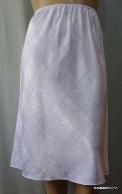 M&S STYLE VINTAGE STYLE SILKY CREAM PATTERNED SATIN HALF SLIP Sz Lg UK 18    j