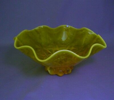 Vintage Depression YELLOW Marble Persimmon Glass Candy Bowl Serving Dish