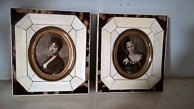 Pair Of Antique Spanish Bovine Cowbone & Faux-Tortoise Shell Picture Frames