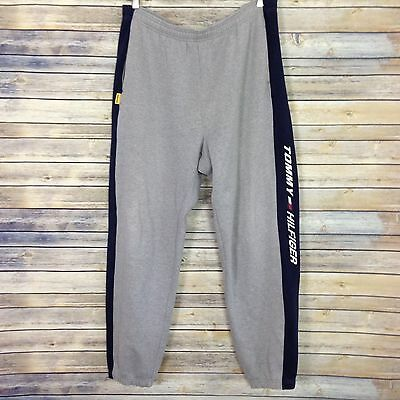 Vintage Tommy Hilfiger Athletics Spell Out Side Stripe Gray Blue Sweat Pants XL